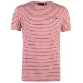 Pierre Cardin Pinstripe T Shirt Mens, Light Coral, S